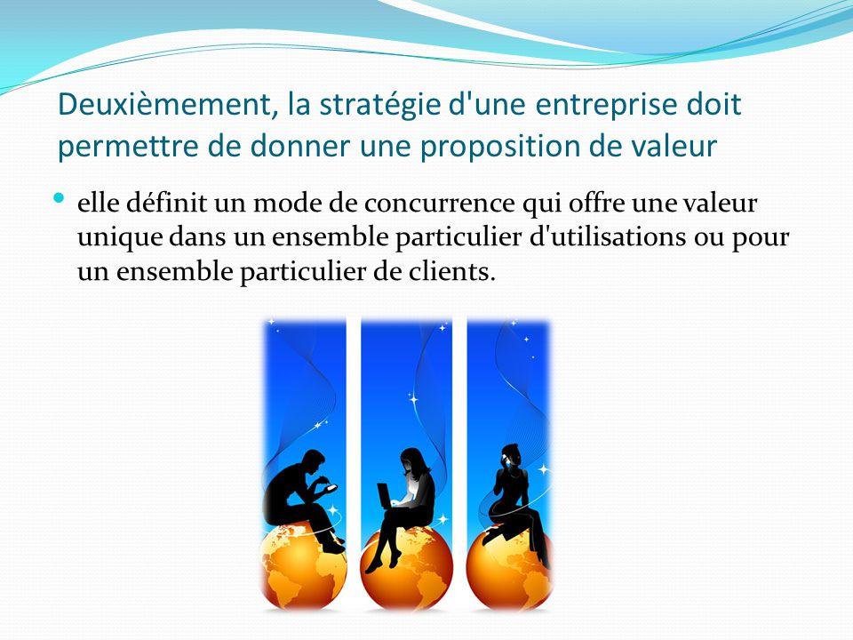 Deuxièmement, la stratégie d'une entreprise doit permettre de donner une proposition de valeur. elle définit un mode de concurrence qui offre une vale