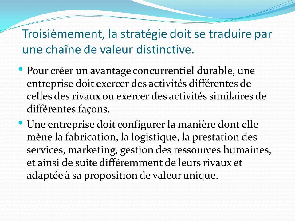 Troisièmement, la stratégie doit se traduire par une chaîne de valeur distinctive. Pour créer un avantage concurrentiel durable, une entreprise doit e