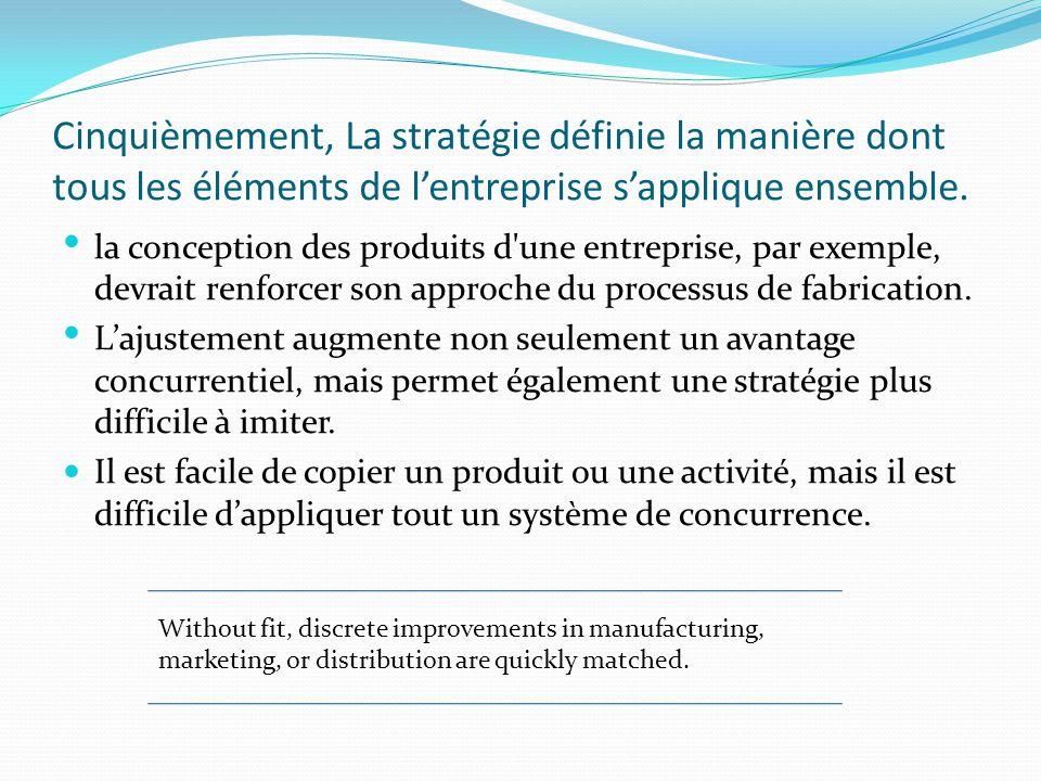 Cinquièmement, La stratégie définie la manière dont tous les éléments de lentreprise sapplique ensemble. la conception des produits d'une entreprise,
