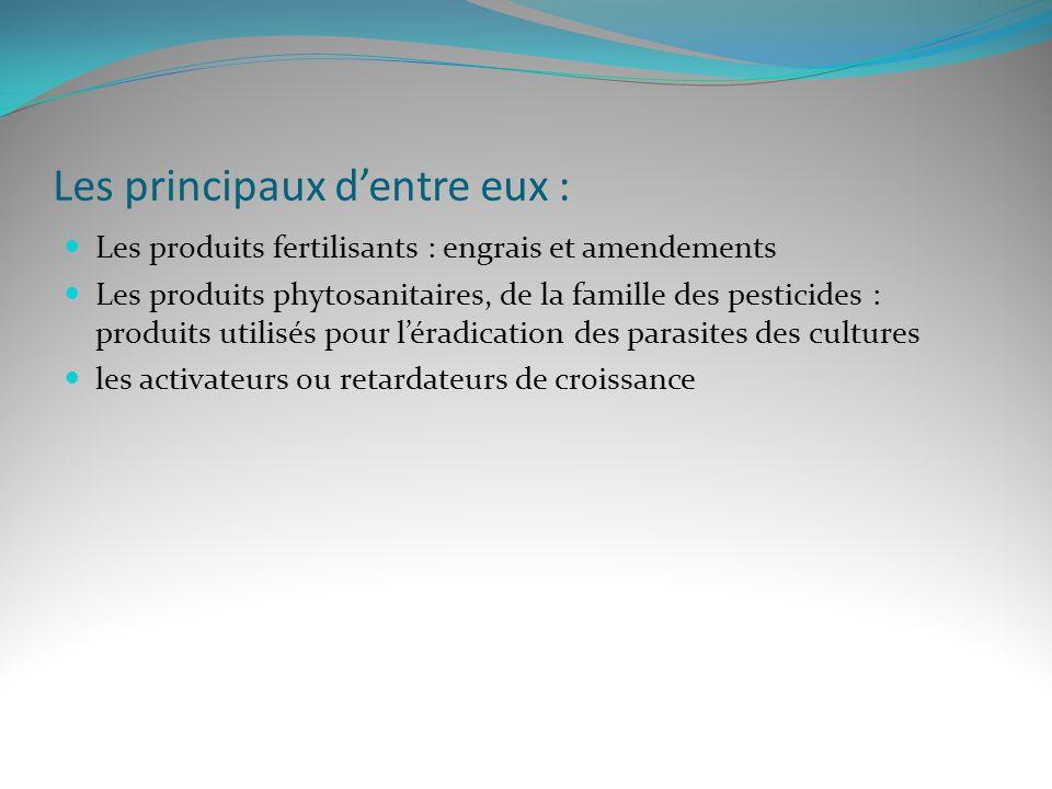 Les principaux dentre eux : Les produits fertilisants : engrais et amendements Les produits phytosanitaires, de la famille des pesticides : produits u