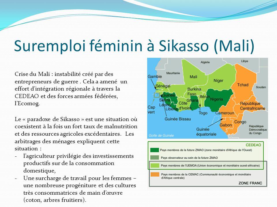 Suremploi féminin à Sikasso (Mali) Crise du Mali : instabilité créé par des entrepreneurs de guerre.