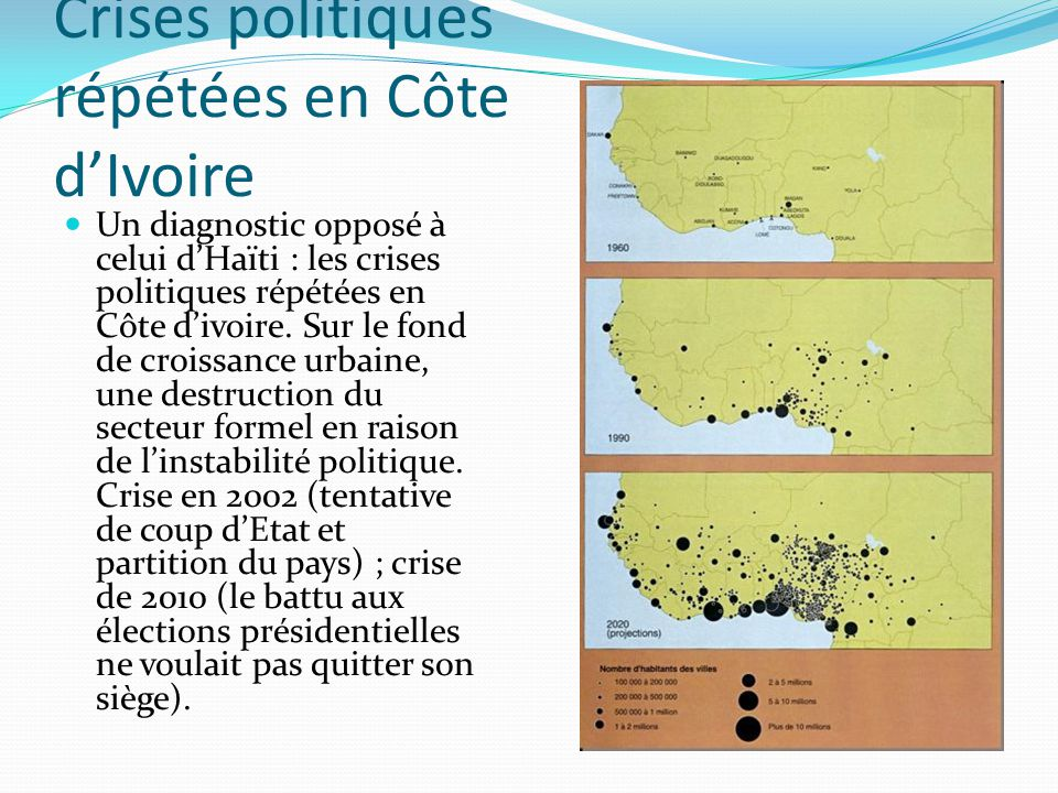 Crises politiques répétées en Côte dIvoire Un diagnostic opposé à celui dHaïti : les crises politiques répétées en Côte divoire. Sur le fond de croiss