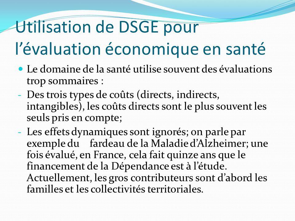 Utilisation de DSGE pour lévaluation économique en santé Le domaine de la santé utilise souvent des évaluations trop sommaires : - Des trois types de coûts (directs, indirects, intangibles), les coûts directs sont le plus souvent les seuls pris en compte; - Les effets dynamiques sont ignorés; on parle par exemple du fardeau de la Maladie dAlzheimer; une fois évalué, en France, cela fait quinze ans que le financement de la Dépendance est à létude.