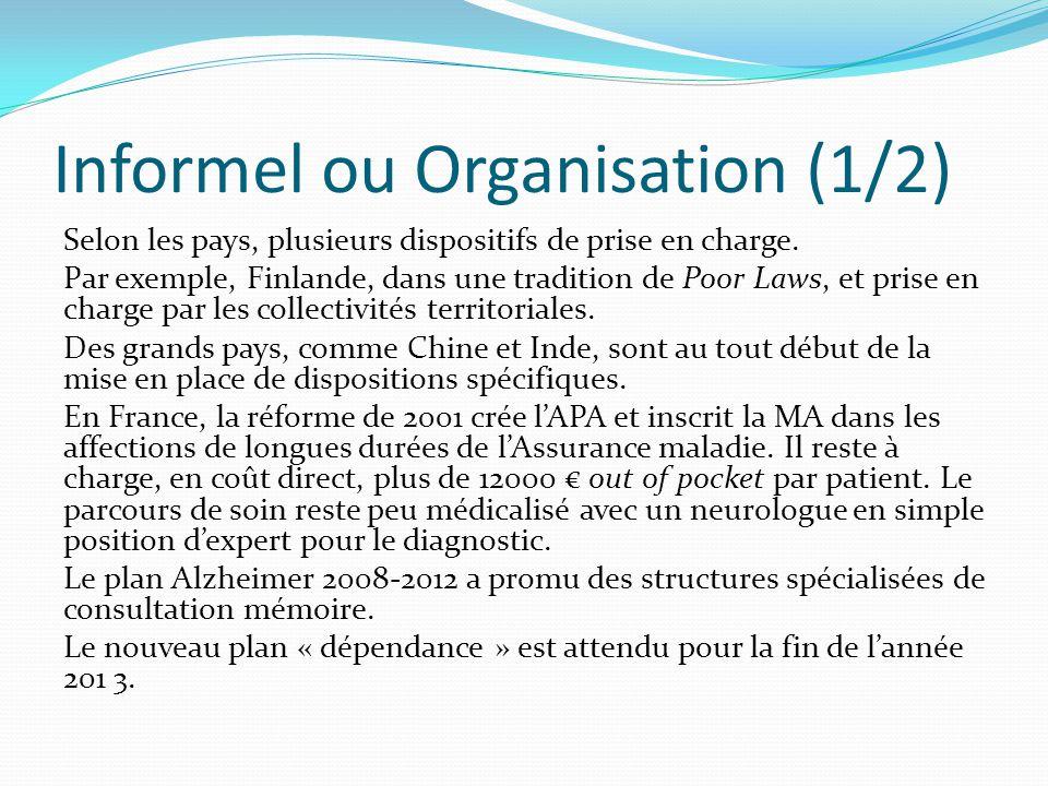 Informel ou Organisation (1/2) Selon les pays, plusieurs dispositifs de prise en charge.