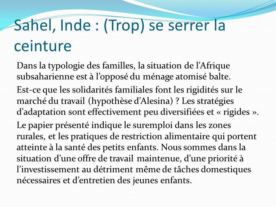 Sahel, Inde : (Trop) se serrer la ceinture Dans la typologie des familles, la situation de lAfrique subsaharienne est à lopposé du ménage atomisé balt