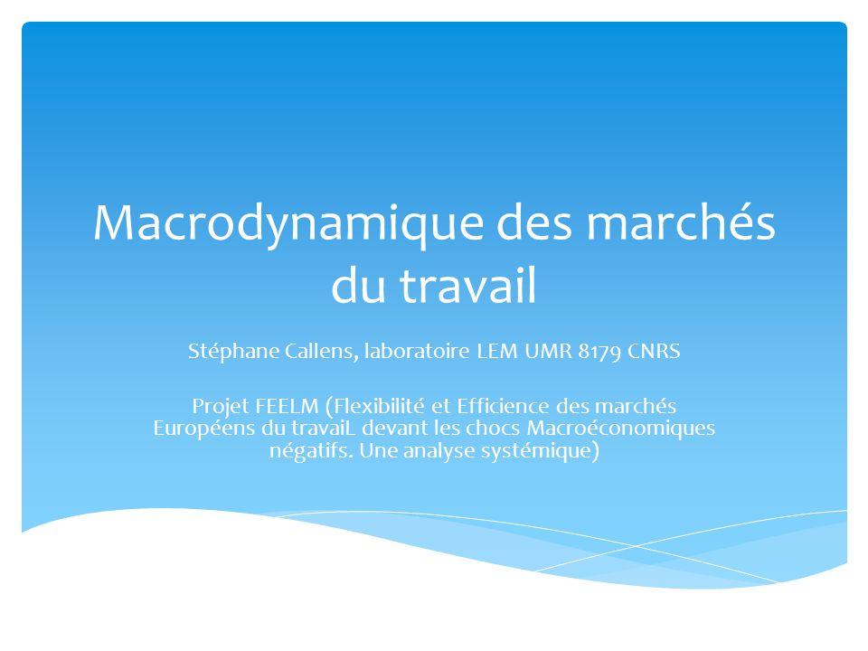 Macrodynamique des marchés du travail Stéphane Callens, laboratoire LEM UMR 8179 CNRS Projet FEELM (Flexibilité et Efficience des marchés Européens du