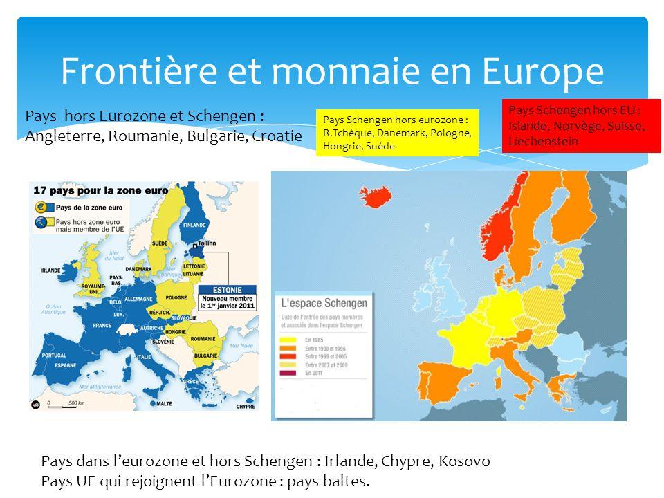 Frontière et monnaie en Europe Pays hors Eurozone et Schengen : Angleterre, Roumanie, Bulgarie, Croatie Pays dans leurozone et hors Schengen : Irlande