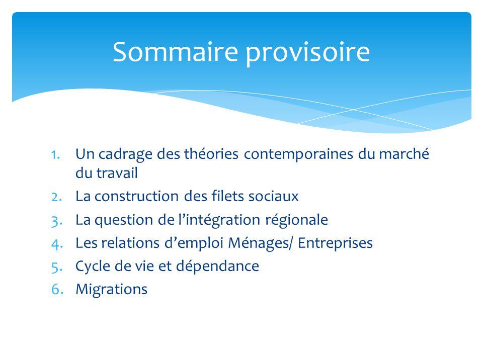 1.Un cadrage des théories contemporaines du marché du travail 2.La construction des filets sociaux 3.La question de lintégration régionale 4.Les relat