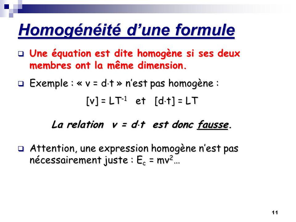 11 Homogénéité dune formule Une équation est dite homogène si ses deux membres ont la même dimension. Exemple : « v = dt » nest pas homogène : [v] = L