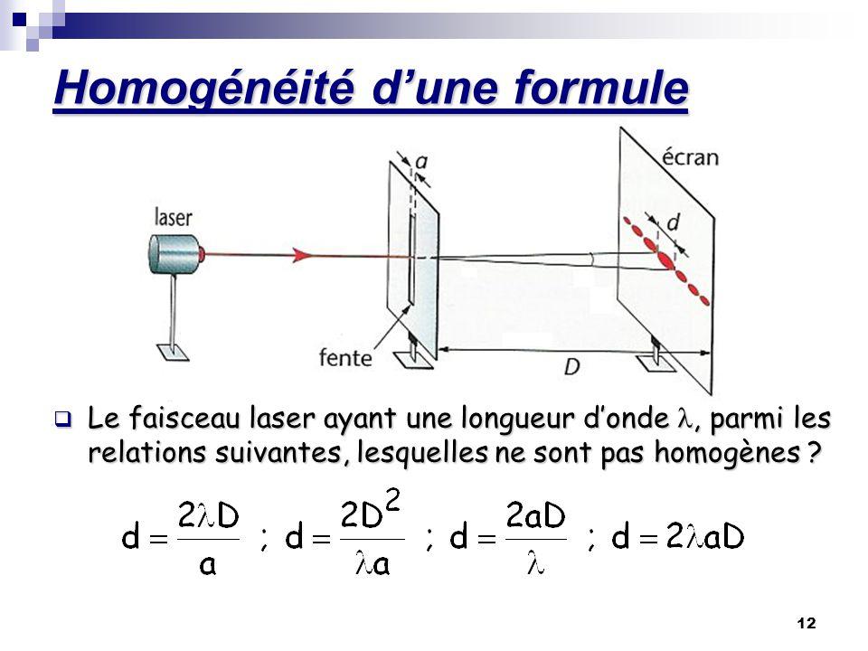 12 Homogénéité dune formule Le faisceau laser ayant une longueur donde, parmi les relations suivantes, lesquelles ne sont pas homogènes ?