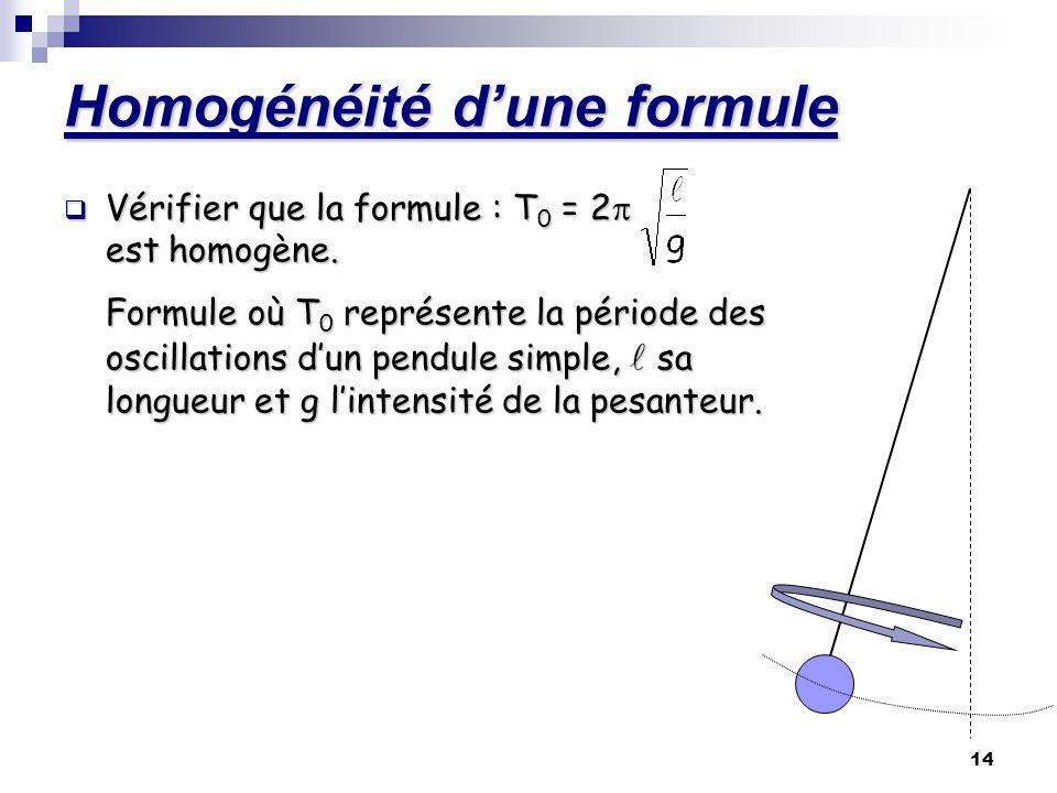 14 Homogénéité dune formule Vérifier que la formule : T0 = 2 est homogène. Formule où T0 représente la période des oscillations dun pendule simple, sa