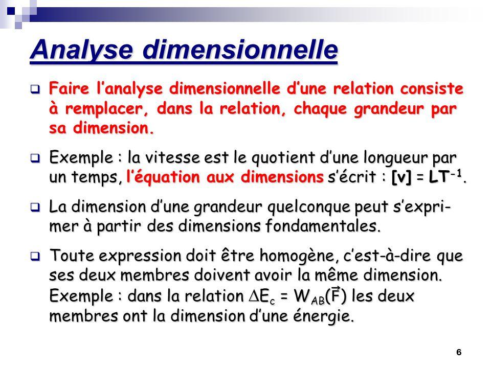 7 Dimension dune grandeur Energie cinétique : Ec = ½ mv2 [E c ] = .
