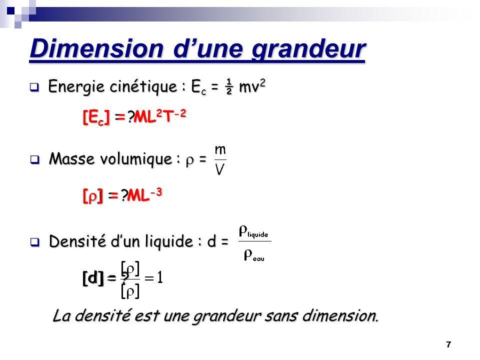 8 Dimension dune grandeur Remarque : une grandeur sans dimension peut cependant avoir une unité.