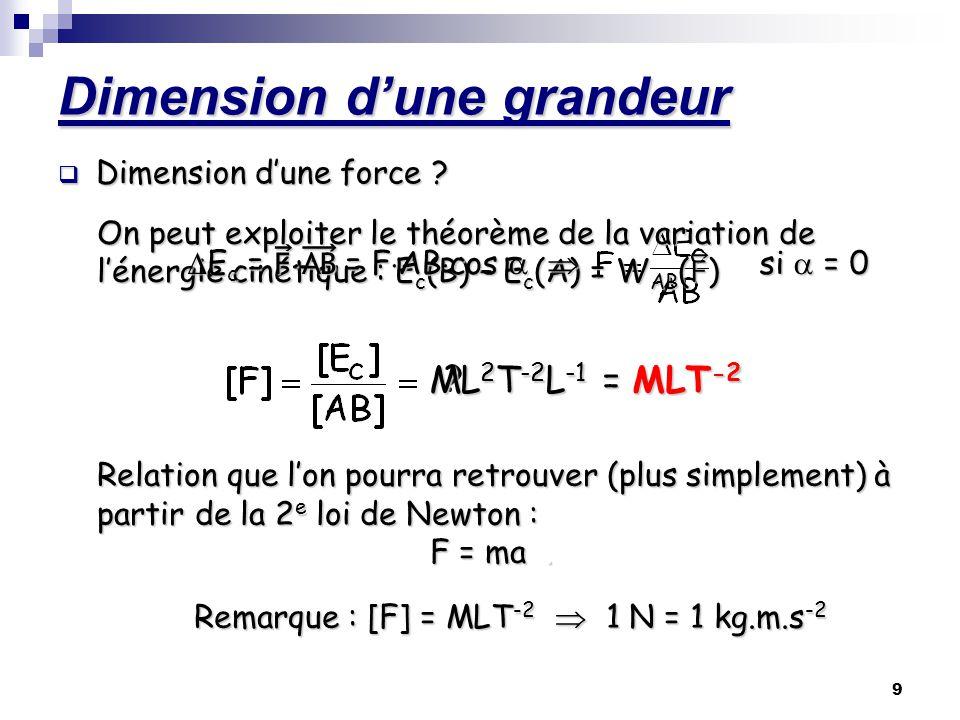 10 Dimension dune grandeur Il peut être parfois relativement difficile dobtenir le résultat… Exemple : la tension électrique U a pour dimension [U] = L2 M T-3 I-1 résultat qui peut sobtenir en combinant les différentes relations : F = q·E ; E = U/d ; q = I·t ; F = m·a… On pourra, en général, garder [U] dans léquation aux dimensions.