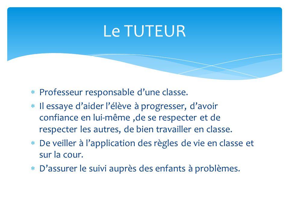 Professeur responsable dune classe. Il essaye daider lélève à progresser, davoir confiance en lui-même,de se respecter et de respecter les autres, de