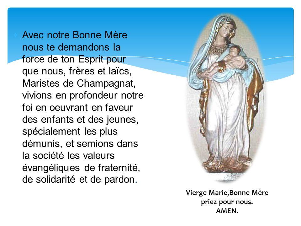 Avec notre Bonne Mère nous te demandons la force de ton Esprit pour que nous, frères et laïcs, Maristes de Champagnat, vivions en profondeur notre foi