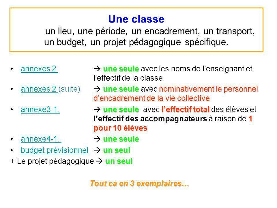 Une classe un lieu, une période, un encadrement, un transport, un budget, un projet pédagogique spécifique. une seuleannexes 2 une seule avec les noms