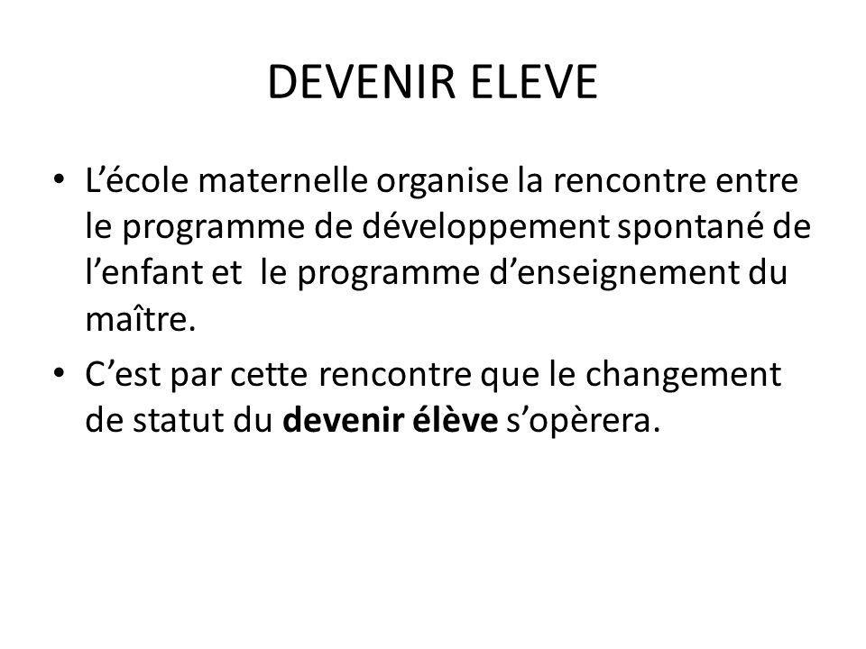 DEVENIR ELEVE Lécole maternelle organise la rencontre entre le programme de développement spontané de lenfant et le programme denseignement du maître.