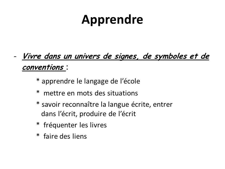 Apprendre -Vivre dans un univers de signes, de symboles et de conventions : * apprendre le langage de lécole * mettre en mots des situations * savoir