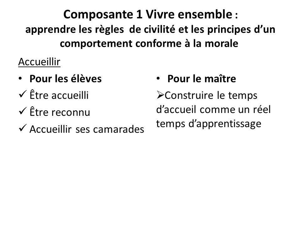 Composante 1 Vivre ensemble : apprendre les règles de civilité et les principes dun comportement conforme à la morale Accueillir Pour les élèves Être