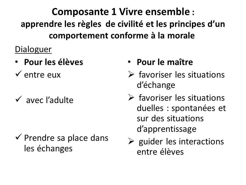 Composante 1 Vivre ensemble : apprendre les règles de civilité et les principes dun comportement conforme à la morale Dialoguer Pour les élèves entre