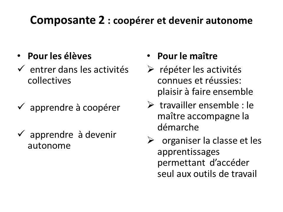 Composante 2 : coopérer et devenir autonome Pour les élèves entrer dans les activités collectives apprendre à coopérer apprendre à devenir autonome Po