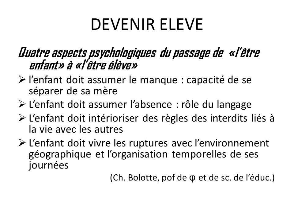 DEVENIR ELEVE Quatre aspects psychologiques du passage de «lêtre enfant» à «lêtre élève» lenfant doit assumer le manque : capacité de se séparer de sa