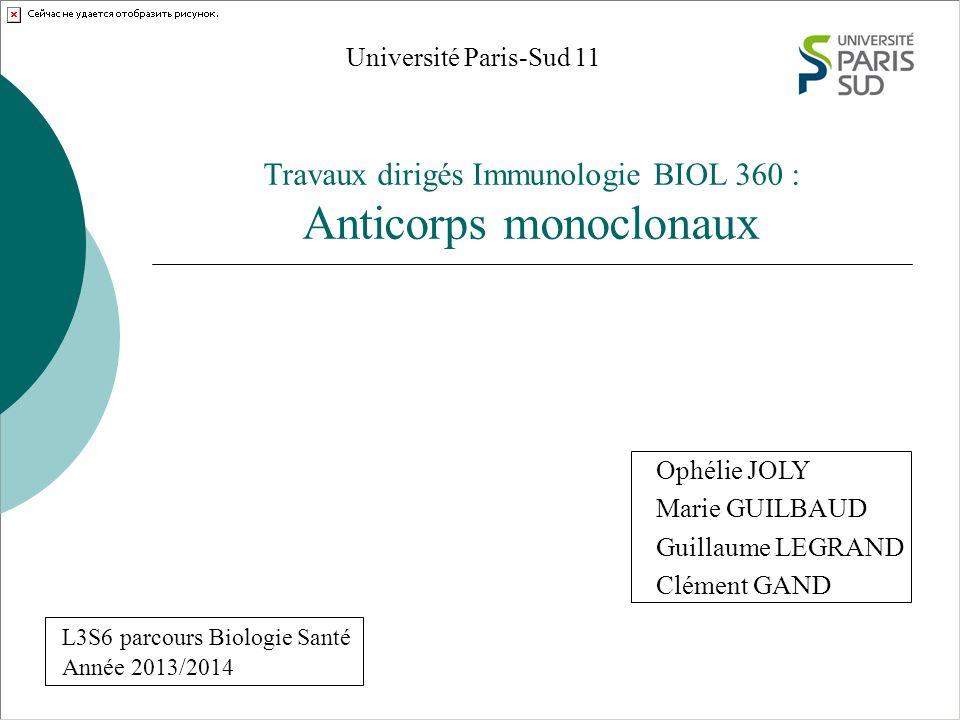 Travaux dirigés Immunologie BIOL 360 : Anticorps monoclonaux Université Paris-Sud 11 Ophélie JOLY Marie GUILBAUD Guillaume LEGRAND Clément GAND Année 2013/2014 L3S6 parcours Biologie Santé