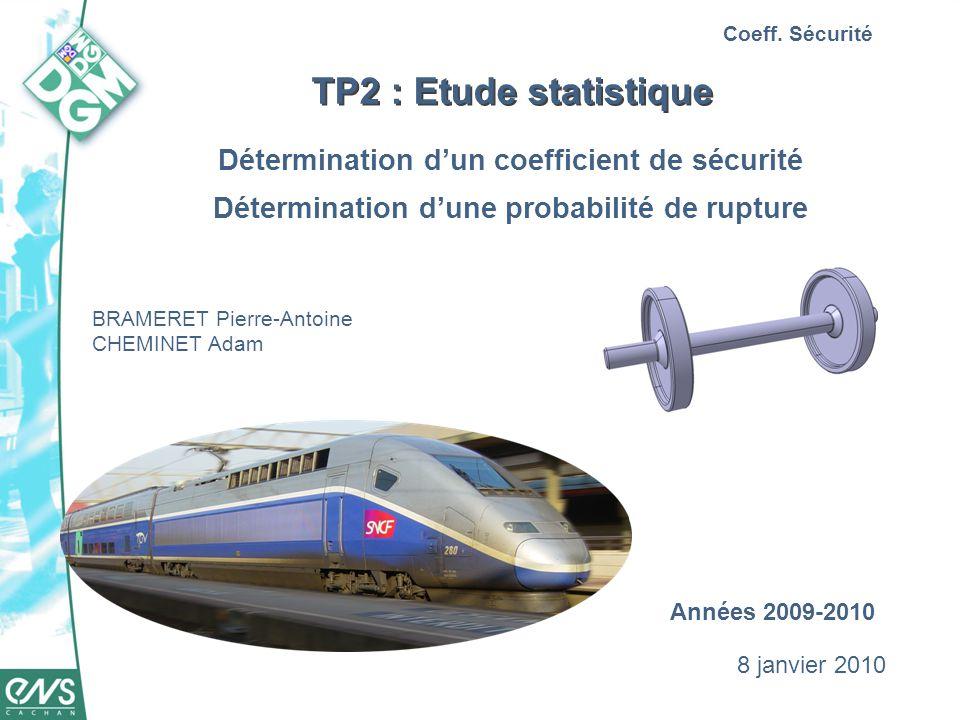 TP2 : Etude statistique Détermination dun coefficient de sécurité Détermination dune probabilité de rupture Coeff. Sécurité BRAMERET Pierre-Antoine CH