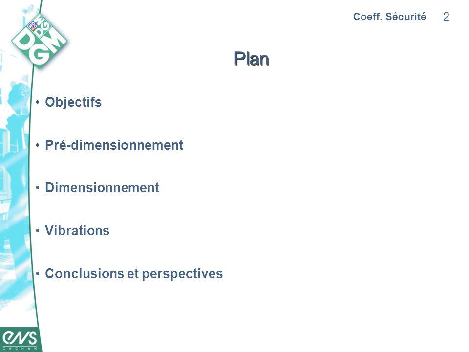 2 Plan Objectifs Pré-dimensionnement Dimensionnement Vibrations Conclusions et perspectives Coeff. Sécurité