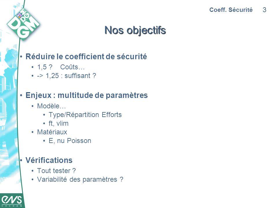 3 Nos objectifs Réduire le coefficient de sécurité 1,5 .