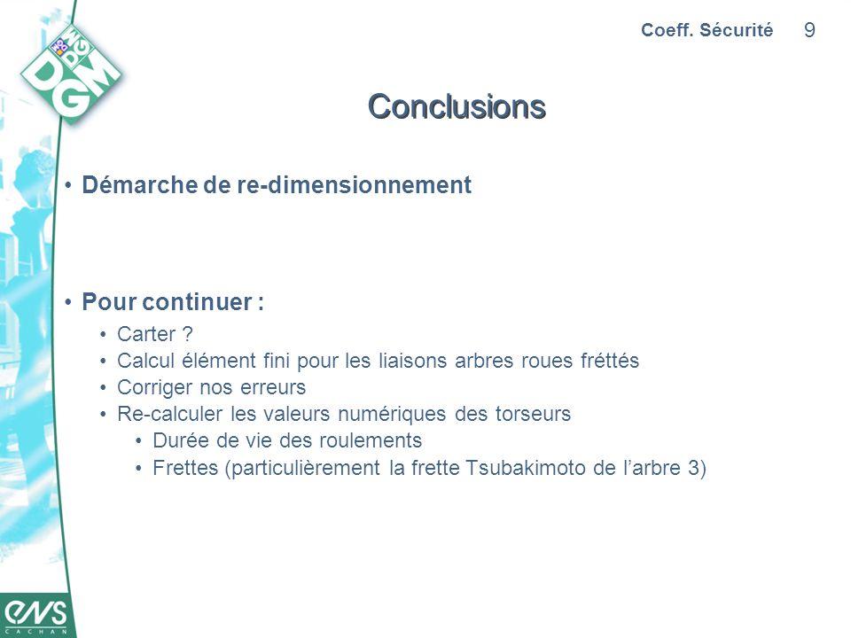 9 Conclusions Démarche de re-dimensionnement Pour continuer : Carter .