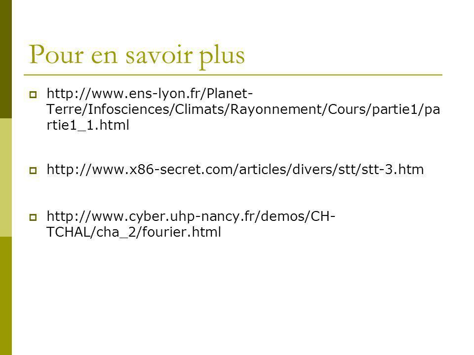 Pour en savoir plus http://www.ens-lyon.fr/Planet- Terre/Infosciences/Climats/Rayonnement/Cours/partie1/pa rtie1_1.html http://www.x86-secret.com/arti