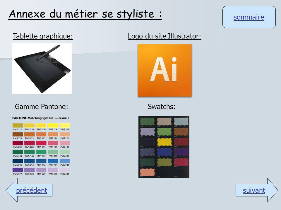 sommaire Annexe du métier se styliste : suivantprécédent Logo du site Illustrator:Tablette graphique: Gamme Pantone:Swatchs: