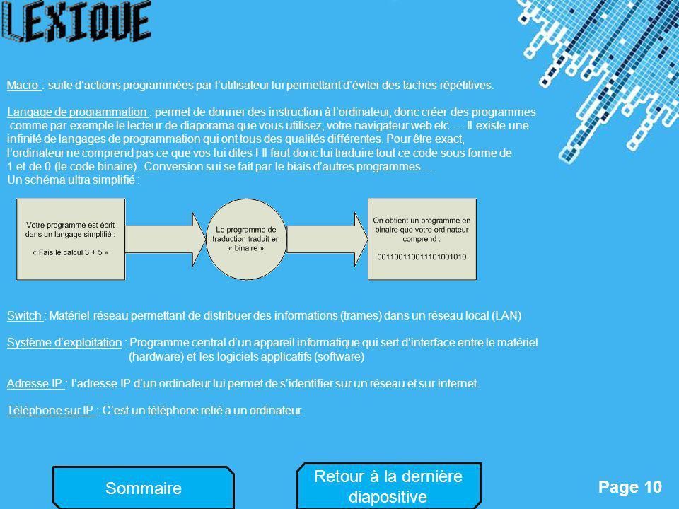 Powerpoint Templates Page 10 Sommaire Macro : suite dactions programmées par lutilisateur lui permettant déviter des taches répétitives. Langage de pr