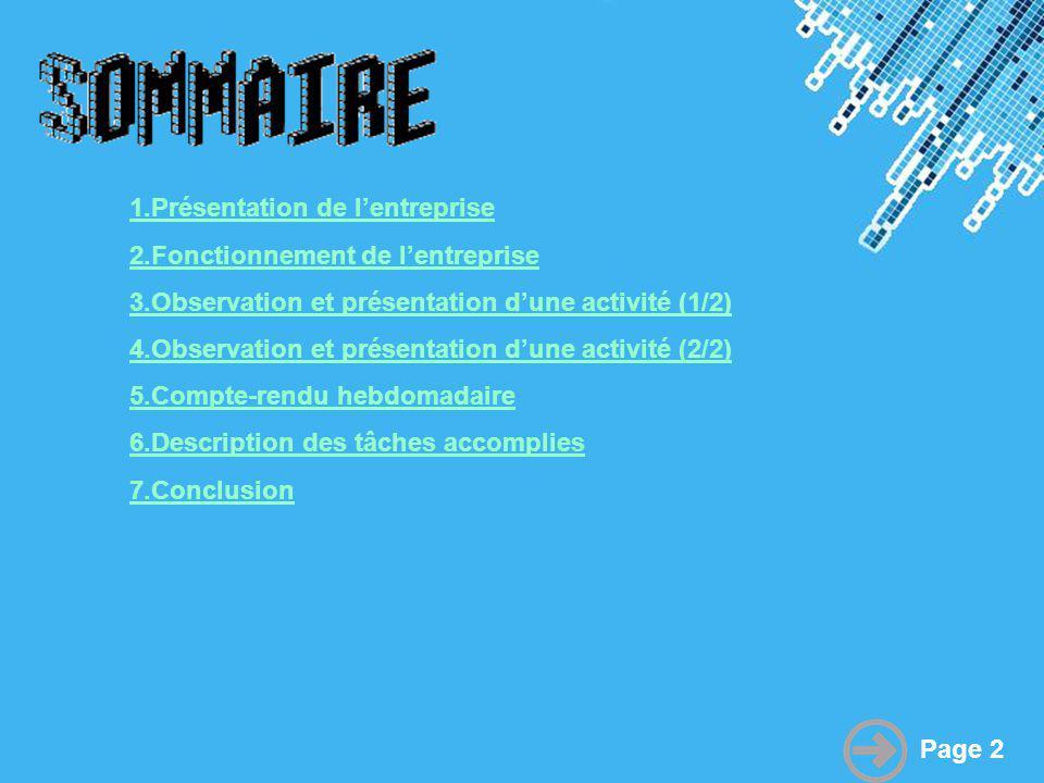 Powerpoint Templates Page 2 1.Présentation de lentreprise 2.Fonctionnement de lentreprise 3.Observation et présentation dune activité (1/2) 4.Observat