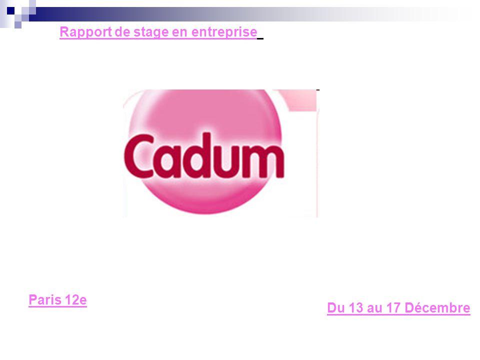 Rapport de stage en entreprise Du 13 au 17 Décembre Paris 12e