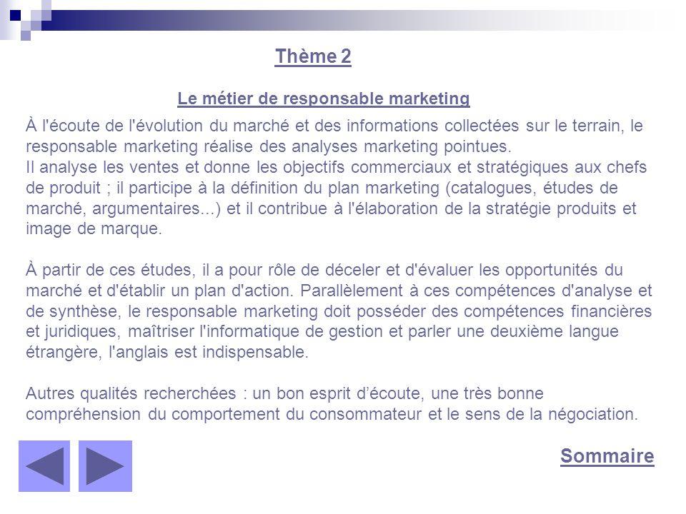 Sommaire Thème 2 Le métier de responsable marketing À l'écoute de l'évolution du marché et des informations collectées sur le terrain, le responsable