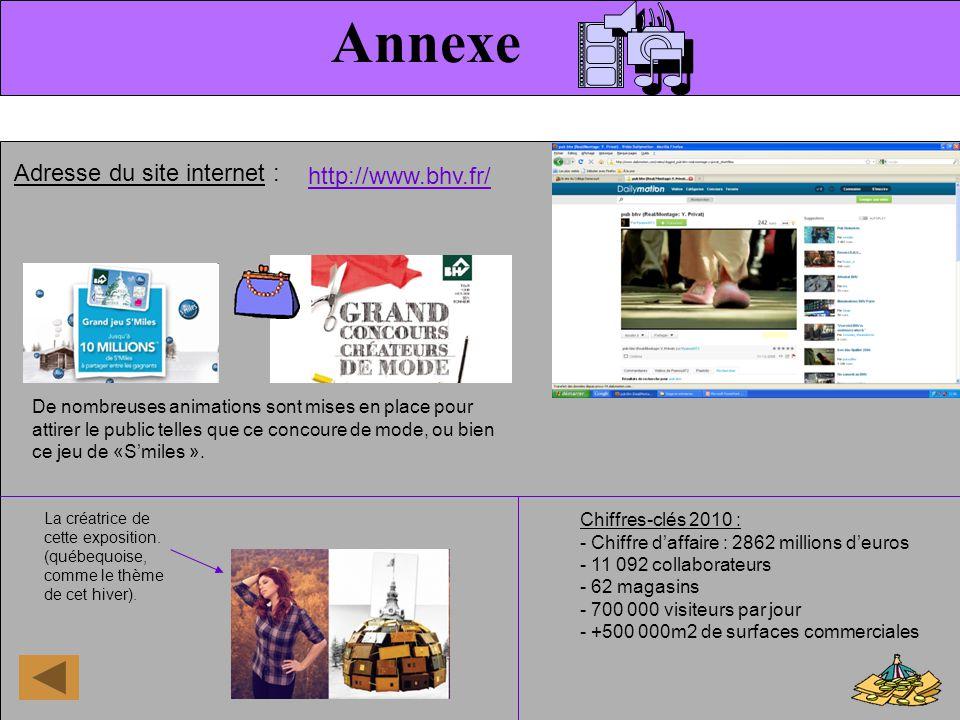 Annexe Adresse du site internet : Chiffres-clés 2010 : - Chiffre daffaire : 2862 millions deuros - 11 092 collaborateurs - 62 magasins - 700 000 visit