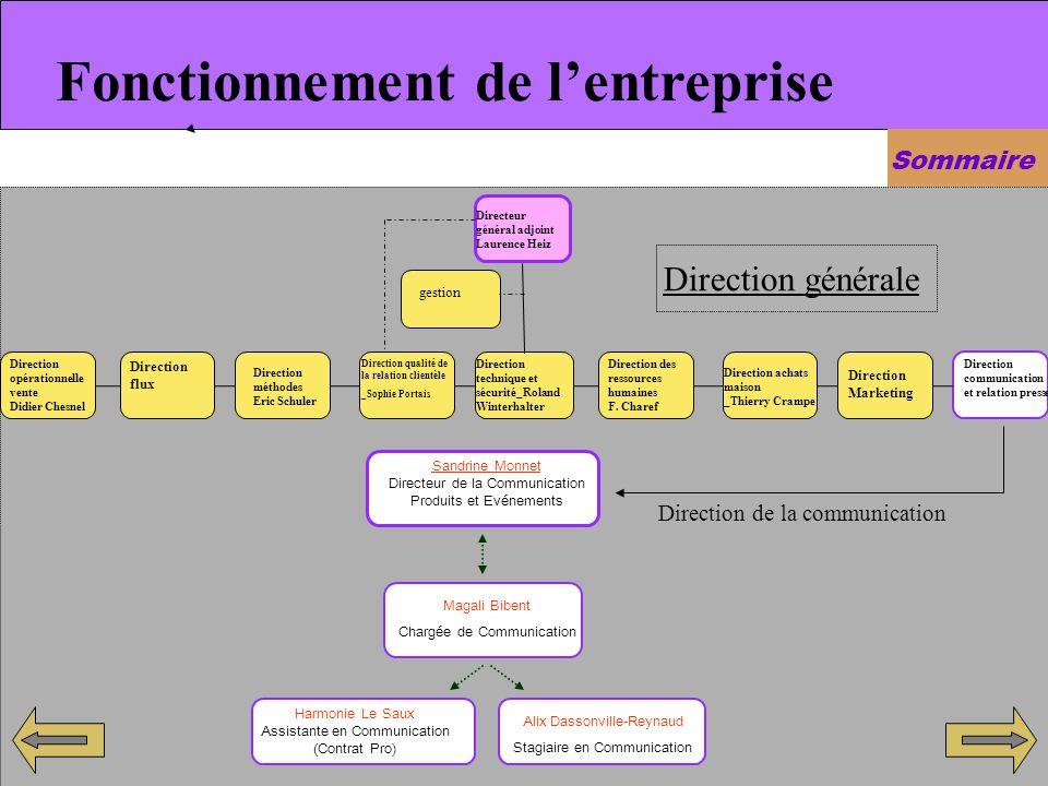 Fonctionnement de lentreprise Sommaire Sandrine Monnet Directeur de la Communication Produits et Evénements Magali Bibent Chargée de Communication Ali