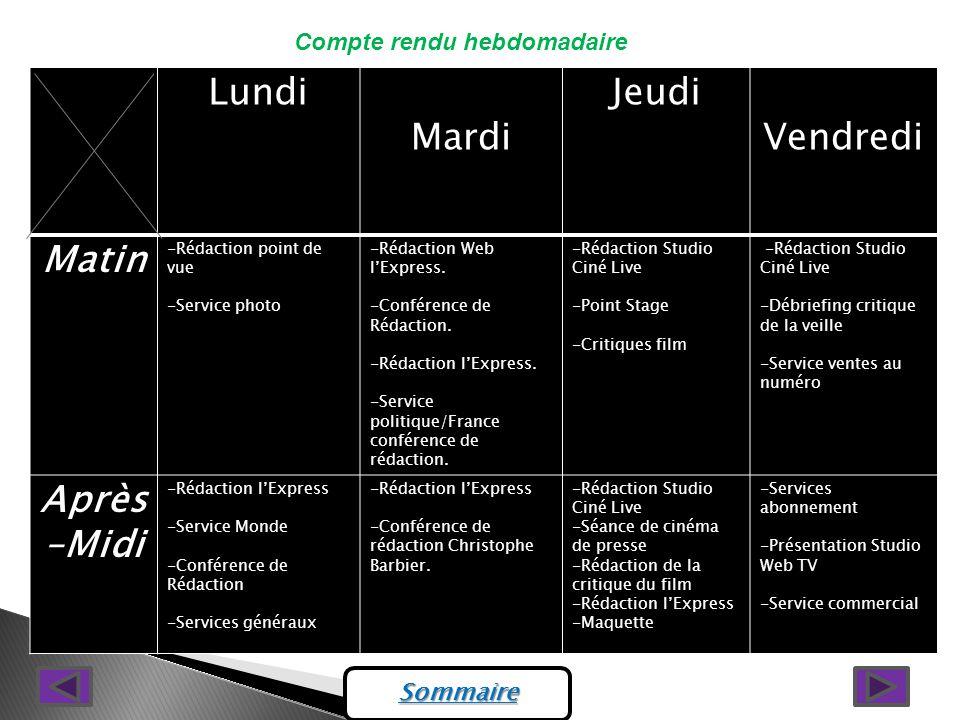 Compte rendu hebdomadaire LundiMardiJeudiVendredi Matin -Rédaction point de vue -Service photo -Rédaction Web lExpress.