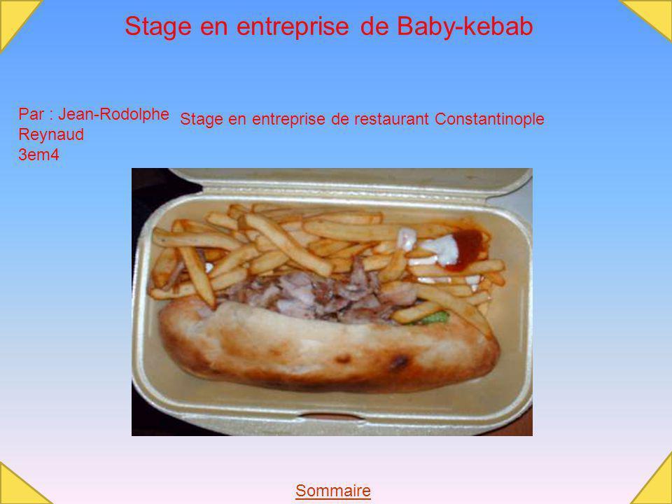 Stage en entreprise de Baby-kebab Par : Jean-Rodolphe Reynaud 3em4 Stage en entreprise de restaurant Constantinople Sommaire