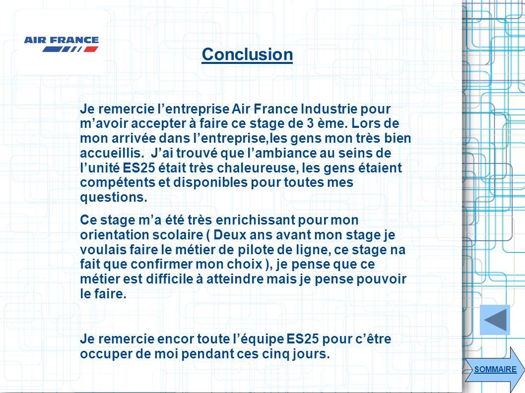 Conclusion SOMMAIRE Je remercie lentreprise Air France Industrie pour mavoir accepter à faire ce stage de 3 ème. Lors de mon arrivée dans lentreprise,