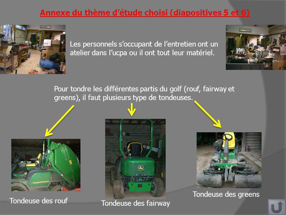 Annexe du thème détude choisi (diapositives 5 et 6) Pour tondre les différentes partis du golf (rouf, fairway et greens), il faut plusieurs type de tondeuses.