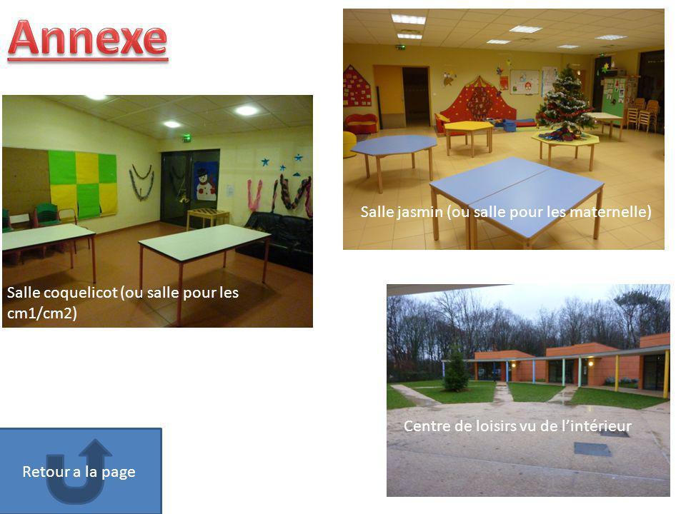 Salle jasmin (ou salle pour les maternelle) Centre de loisirs vu de lintérieur Salle coquelicot (ou salle pour les cm1/cm2) Retour a la page