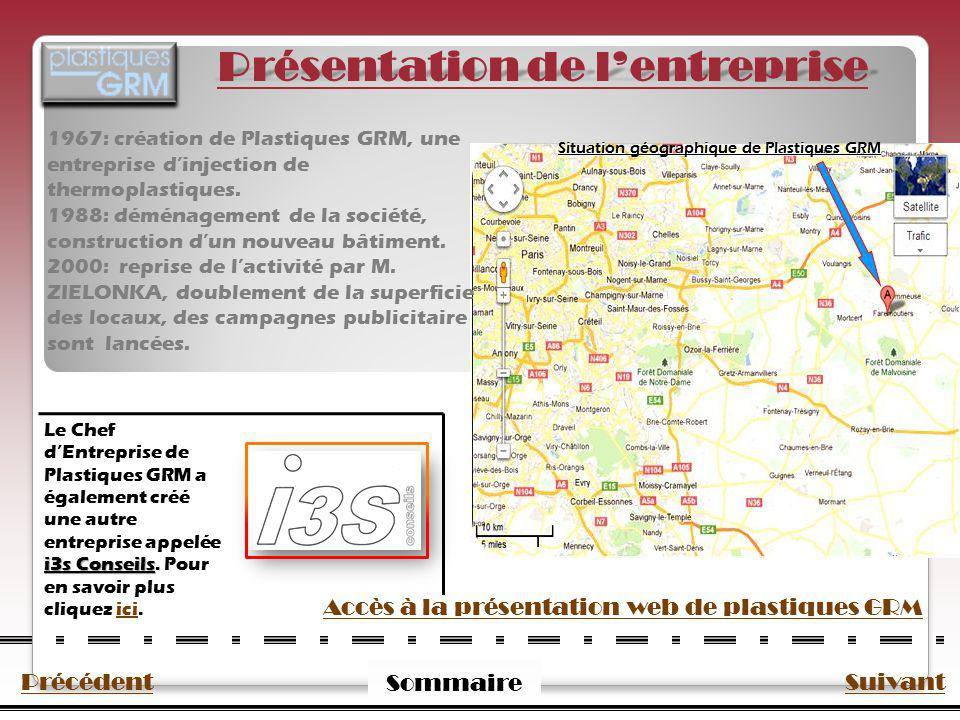 PrécédentSuivant Sommaire Présentation de lentreprise 1967: création de Plastiques GRM, une entreprise dinjection de thermoplastiques. 1988: déménagem