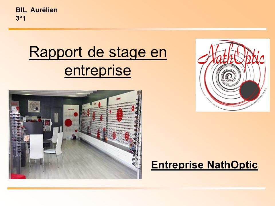 Entreprise NathOptic BIL Aurélien 3°1 Rapport de stage en entreprise