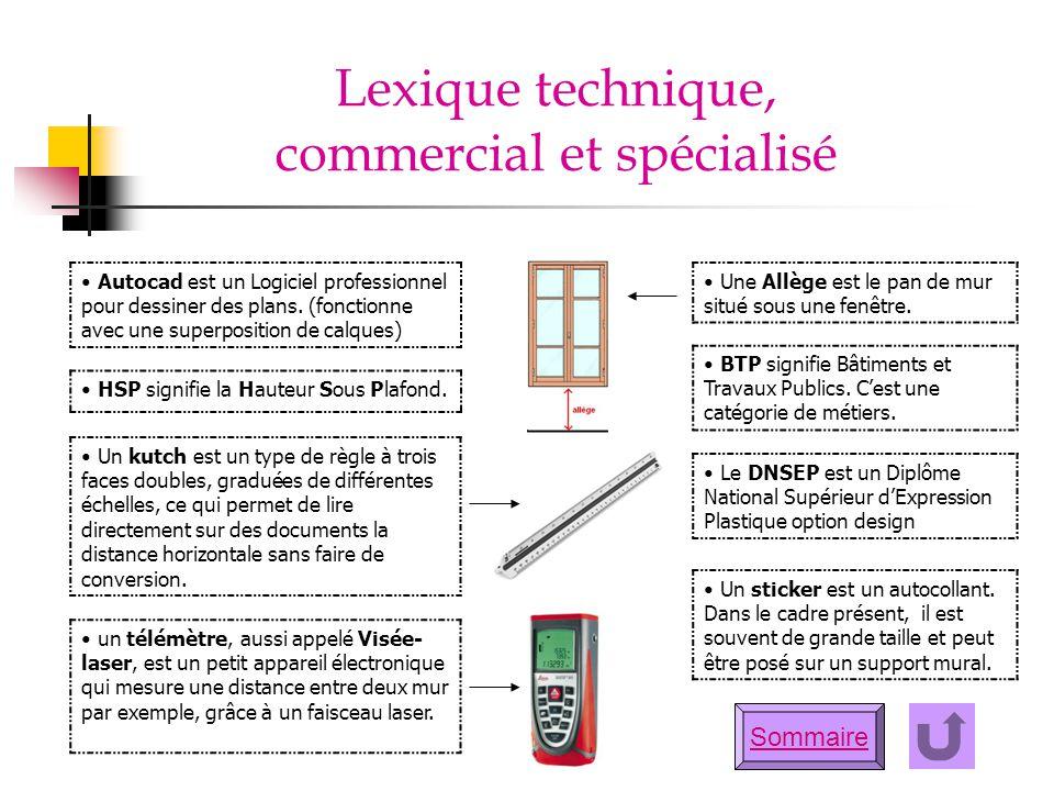 Sommaire Lexique technique, commercial et spécialisé Autocad est un Logiciel professionnel pour dessiner des plans. (fonctionne avec une superposition