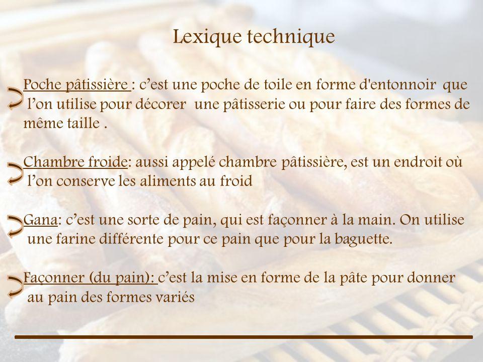 Lexique technique Poche pâtissière : cest une poche de toile en forme d'entonnoir que lon utilise pour décorer une pâtisserie ou pour faire des formes