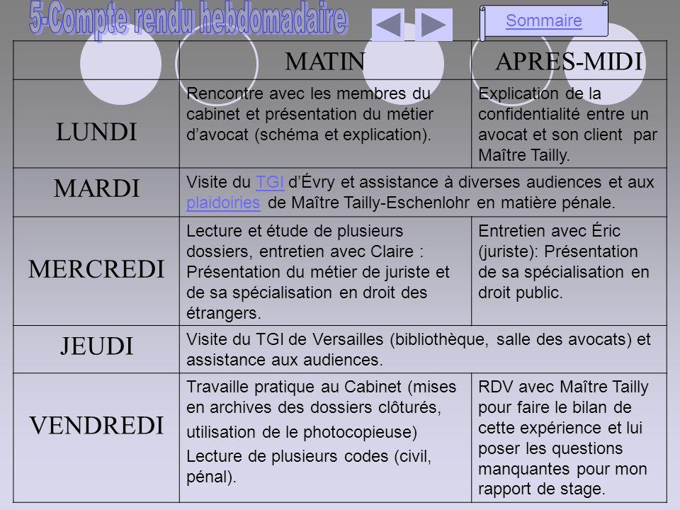 MATINAPRES-MIDI LUNDI Rencontre avec les membres du cabinet et présentation du métier davocat (schéma et explication). Explication de la confidentiali